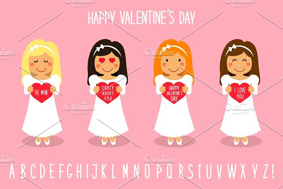 Cute Valentine's Day cartoon characters of loving girls with heart in hands