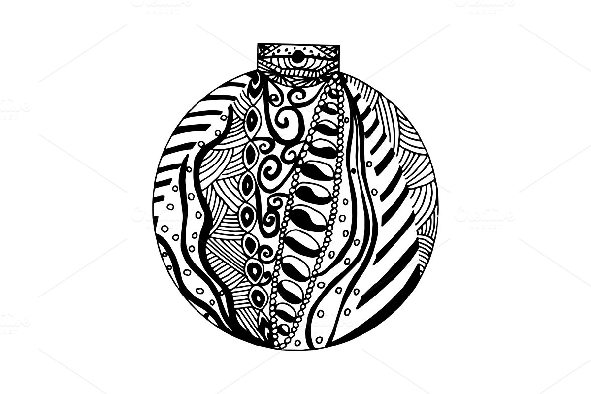 Handdrawn black and white ball