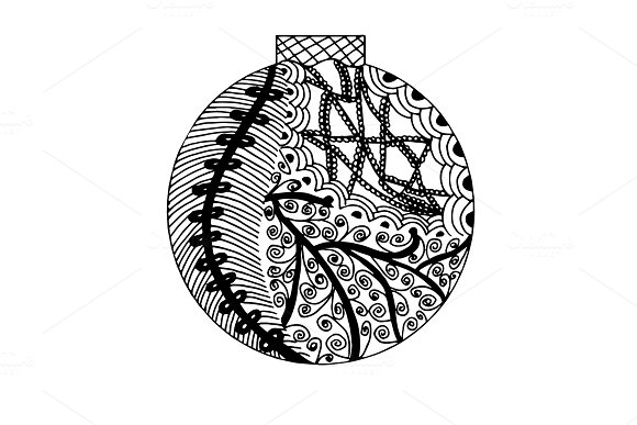 Handdrawn ball in black and white