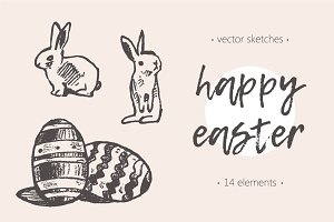 Set of cute easter rabbits, eggs