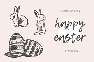 Set of cute easter rabbits, eggs