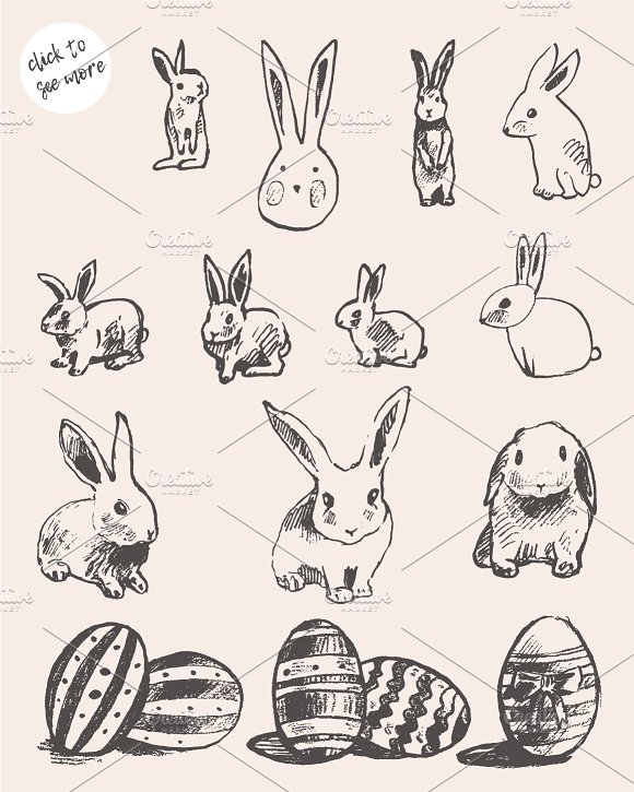 Set of cute easter rabbits, eggs in Illustrations - product preview 1
