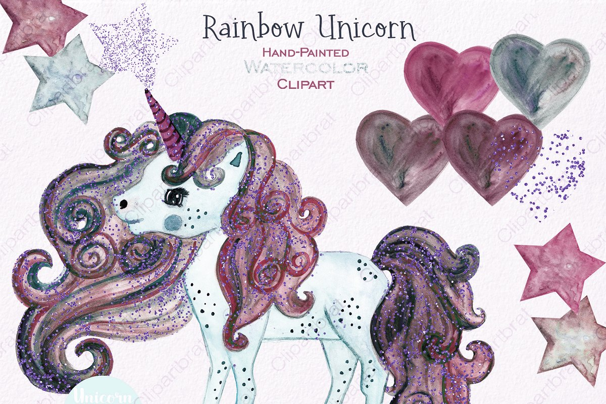 Pink & Mint Cute Watercolor Unicorn in Illustrations - product preview 1