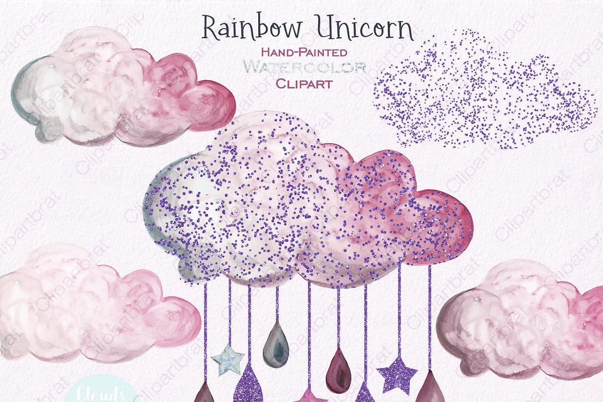 Pink & Mint Cute Watercolor Unicorn in Illustrations - product preview 3