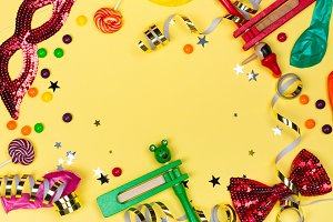 Festive party, carnival or Purim holiday background
