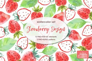 Strawberry watercolor design