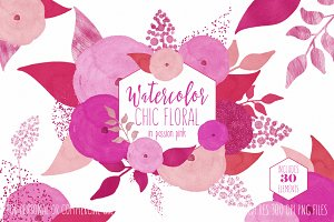 Chic Watercolor Pink Floral Graphics