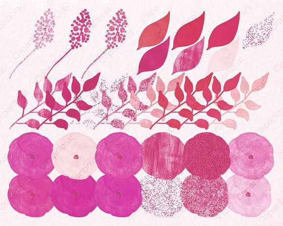 Chic Watercolor Pink Floral Graphics in Illustrations - product preview 1