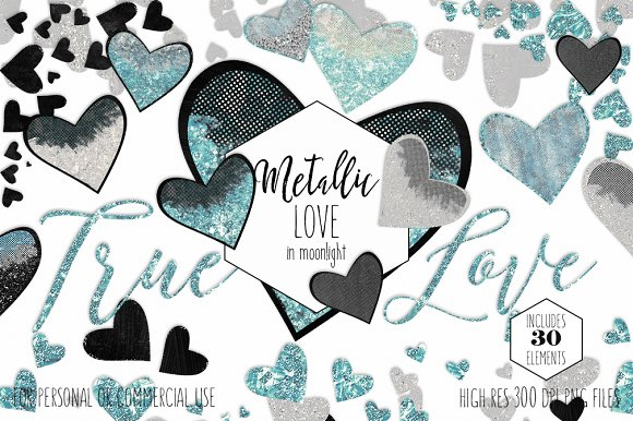 Glam Hearts Teal Love Graphics in Illustrations