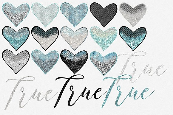 Glam Hearts Teal Love Graphics in Illustrations - product preview 2