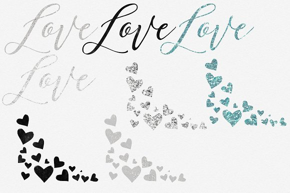 Glam Hearts Teal Love Graphics in Illustrations - product preview 3