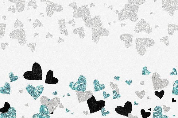 Glam Hearts Teal Love Graphics in Illustrations - product preview 4