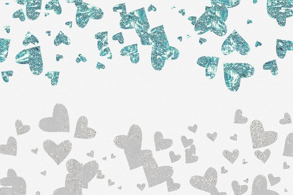Glam Hearts Teal Love Graphics in Illustrations - product preview 5