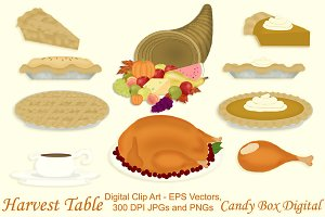 Harvest Table Clip Art w/Vectors