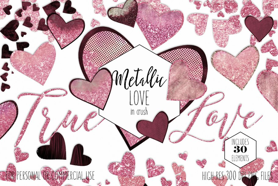Pink & Burgundy Hearts Love Graphics in Illustrations