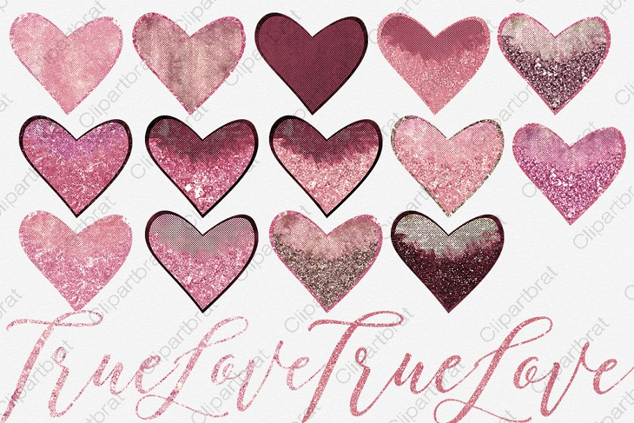 Pink & Burgundy Hearts Love Graphics in Illustrations - product preview 1