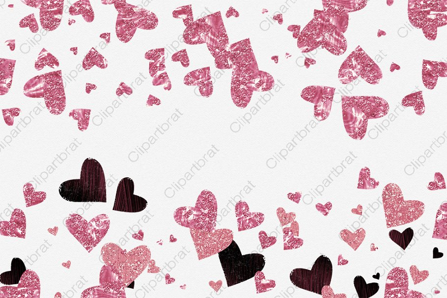 Pink & Burgundy Hearts Love Graphics in Illustrations - product preview 3