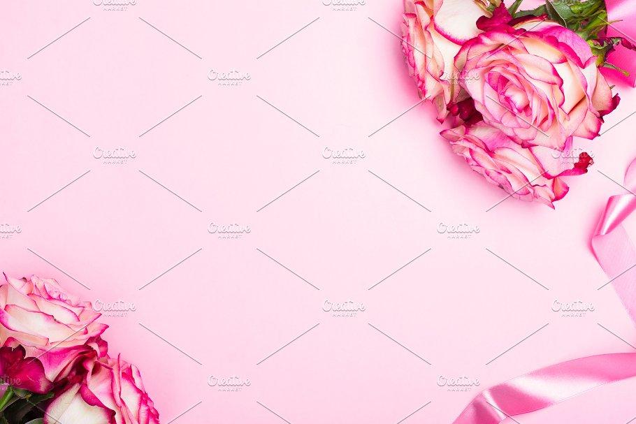 Beautiful Pink Rose Decorative Confetti Hearts And Pink Ribbon On