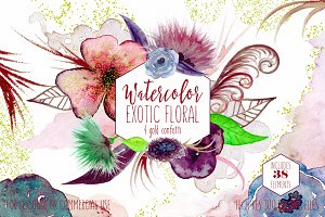 Exotic Watercolor Floral Graphics