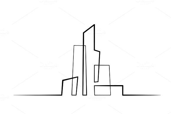 Building Cityscape Line Art