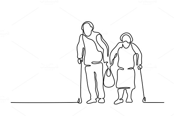 Elderly couple walking with bag