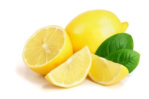 lemon and slice with leaf isolated on white background