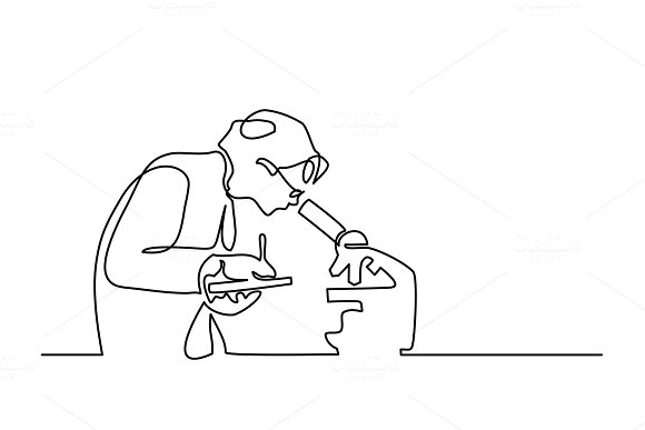 Scientist woman looking microscope in Illustrations