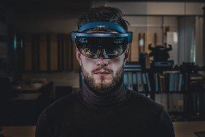 Man using hololens AR glasses
