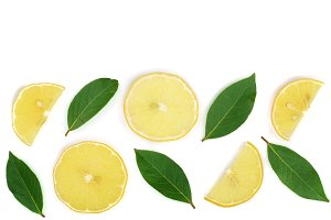lemon with leaves and slices isolated on white background with copy space for your text. Flat lay, top view