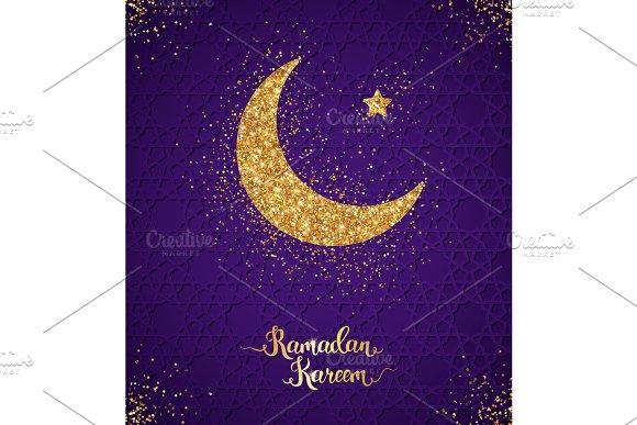 Ramadan Kareem greeting card with crescent