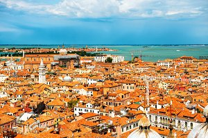 Venice roofs from above.