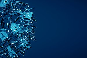 Shatered blue glass background