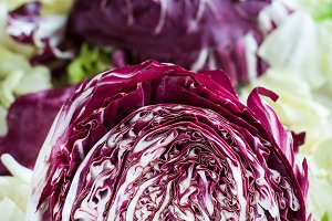 Sliced radicchio on table