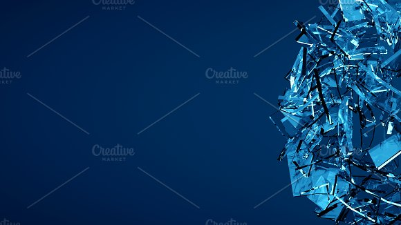 Shattered blue glass background