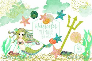 Mint Watercolor Mermaid Clipart