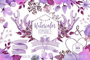 Romantic Watercolor Floral & Antlers