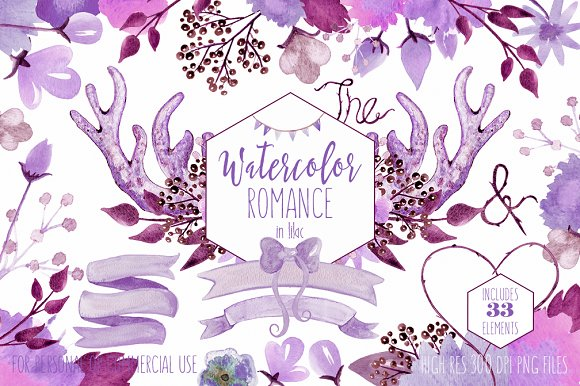 Romantic Watercolor Floral & Antlers