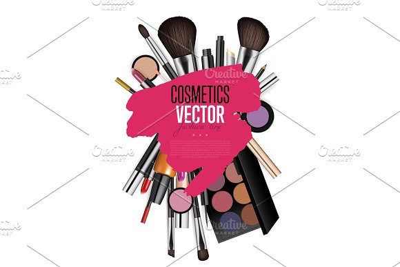 Cosmetic Products Assortment Realism Vector Banner in Textures