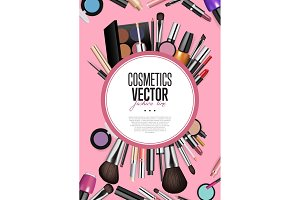 Professional Fashion Makeup Realism Vector Banner