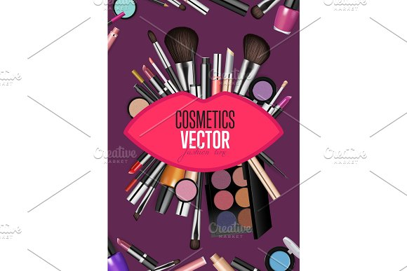 Modern Cosmetics Accessories Vector Concept