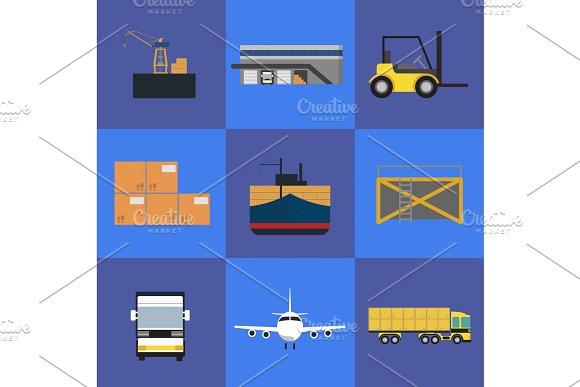 Logistics and freight transportation icon set