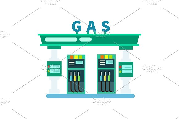Gas filling station vector icon