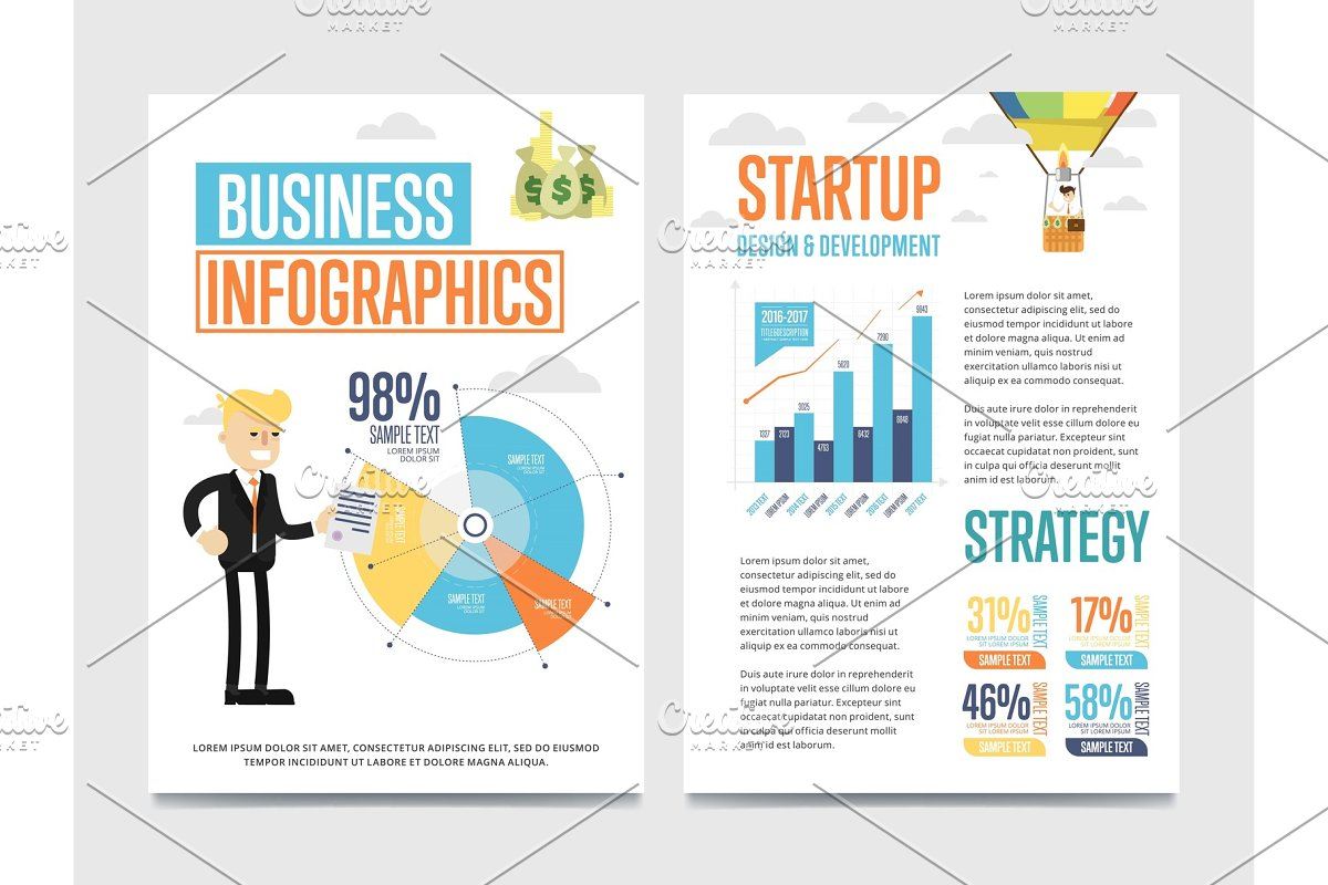 Business infographics banner set with chart