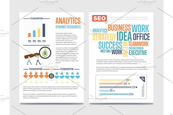 Business analytics banner set with businessmen