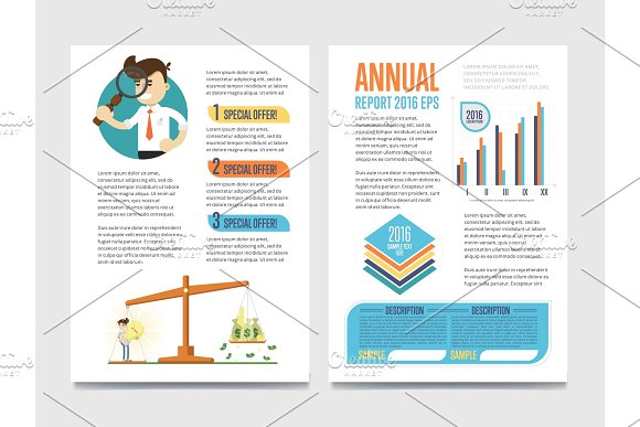 Annual report template set with diagram