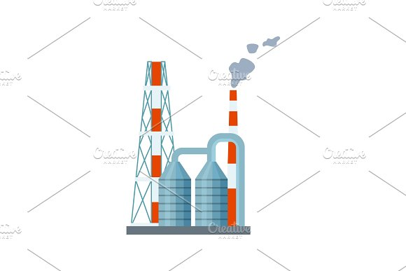 Modern power plant isolated vector icon