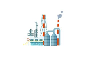 Modern industrial building isolated vector icon