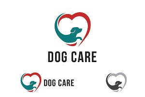 Abstract Dog Care Love Symbol