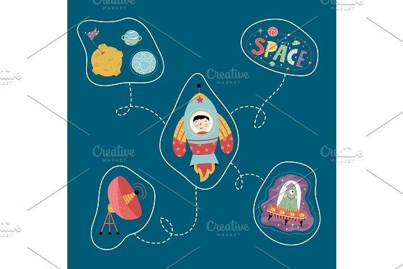 Space Cartoon Style Vector Concept