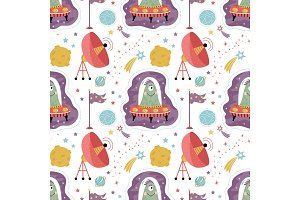 Space Aliens Cartoon Vector Seamless Pattern
